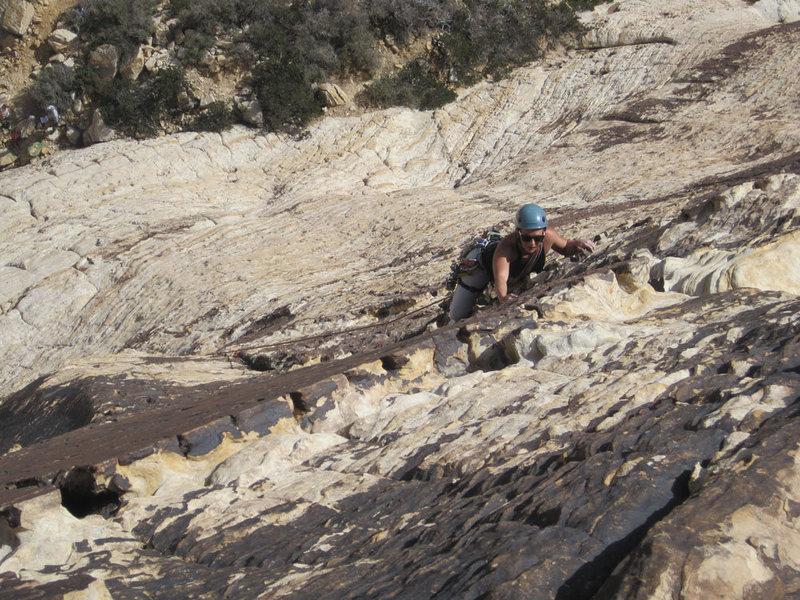 Rock Climbing Photo: Parker Fagrelius leading P1.