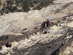 Rock Climbing Photo: Parker Fagrelius leading P1.