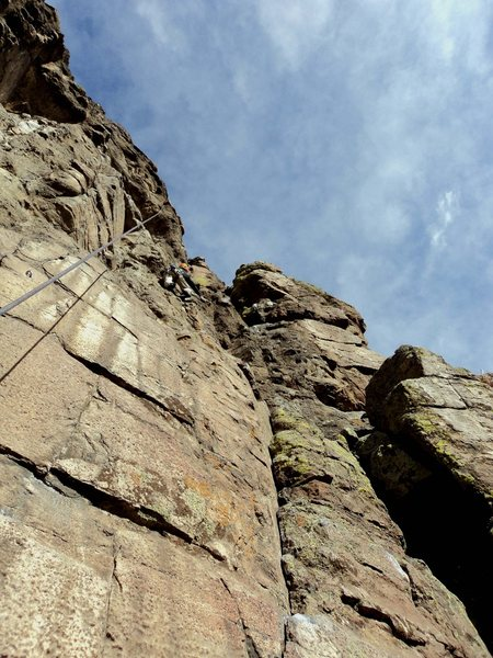 Rock Climbing Photo: Dave on P2 in the loose section.  Beware of cracke...