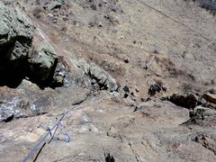 Rock Climbing Photo: Looking down from the top of P2.  Interesting posi...