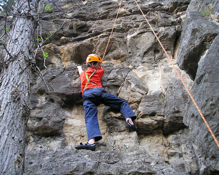 Alex climbing in Spearfish Canyon