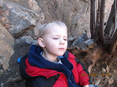 Rock Climbing Photo: My son, deep in thought.