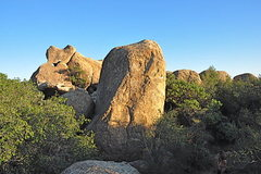 Rock Climbing Photo: LOTF ascends the right-hand side of the boulder in...