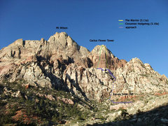 Rock Climbing Photo: selected Cactus Flower Tower routes and approach