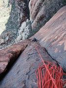 Rock Climbing Photo: looking down P2
