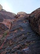 Rock Climbing Photo: Jon exiting the crack on P3