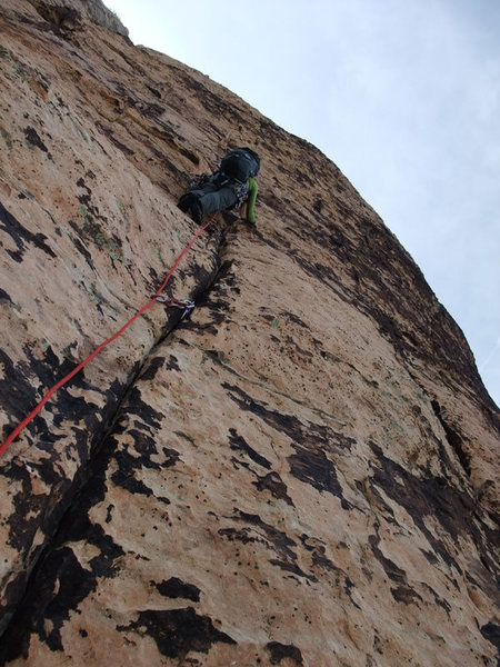 Rock Climbing Photo: starting up the crux pitch