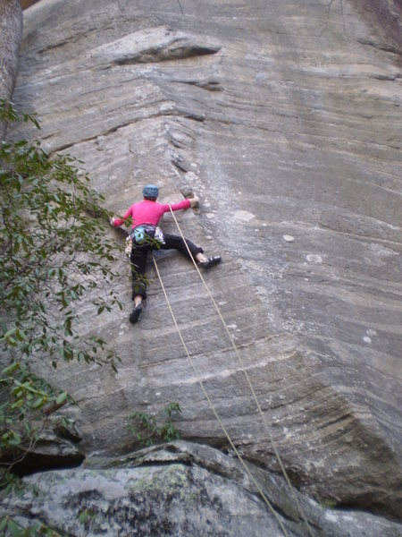 Rock Climbing Photo: Mary at the technical arete start
