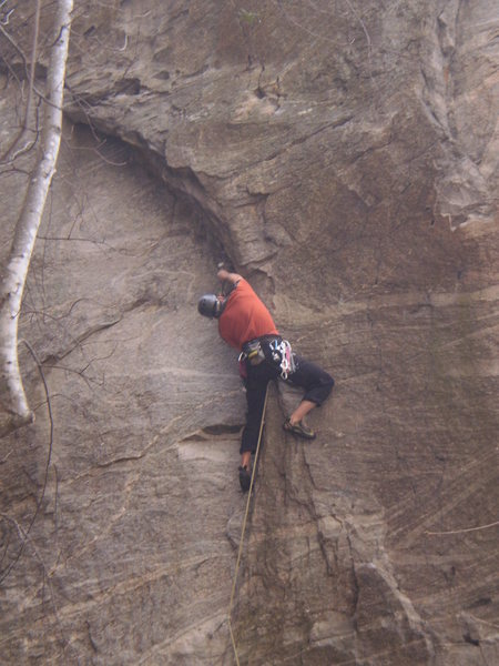 Rock Climbing Photo: Me plugging the crux gear