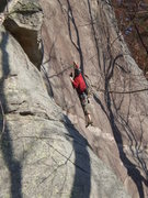 Rock Climbing Photo: High stepping and crimping is the name of the game...