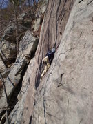 Rock Climbing Photo: Eric on the upper slab section
