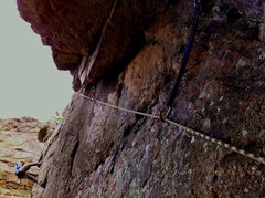 Rock Climbing Photo: Protecting the climb through the crux of this rout...