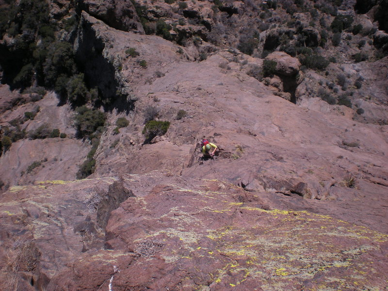 "Rock Climbing Photo: cindy on the crux pitch 3, just after the ""tr..."