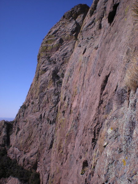 looking across the east face toward don's crack and the SE arete, from the top of pitch 3