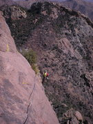 Rock Climbing Photo: looking back at the belay atop pitch 3, after the ...