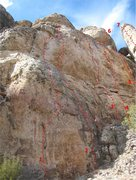 Rock Climbing Photo: The Tropical Wall.  Routes shown:  1. Observe God'...