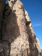 "Rock Climbing Photo: ""Tommy"" climbs the left side of the clea..."