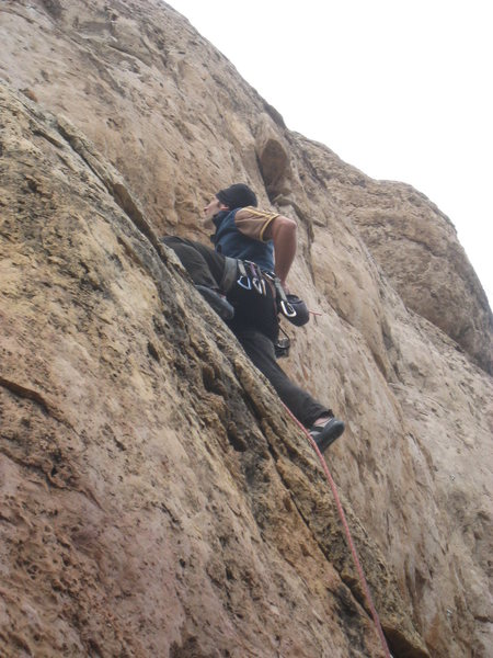 Rock Climbing Photo: Starting up the slab on the FA.
