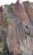 Rock Climbing Photo: Kor's Dog (5.8), Desperate (Left) 5.8, and Despera...