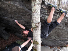 Rock Climbing Photo: Shane with the most interesting foot beta I have e...