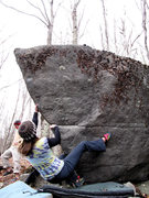 "Rock Climbing Photo: Melanie on ""Riverboat Prow"" (V2)"