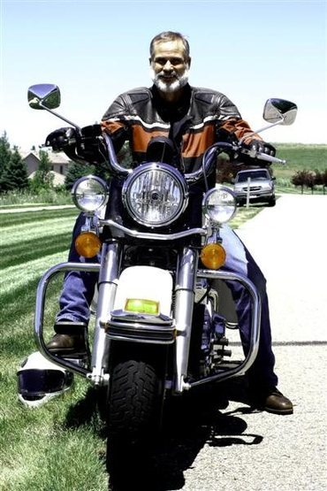 Billy Dean with Harley Police Motorcycle