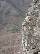 Rock Climbing Photo: Bruce near the top of pitch 1.  Photo taken by Zac...