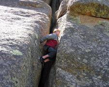 Rock Climbing Photo: Contemplating his next move.