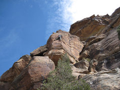 Rock Climbing Photo: Near the last bolt of True Grit.