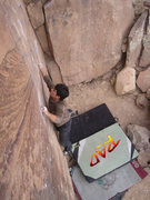 Rock Climbing Photo: Mike B sending Cats Eye with the Rad Pad in place ...