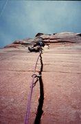 Rock Climbing Photo: P3, a rare shot of BD himself.