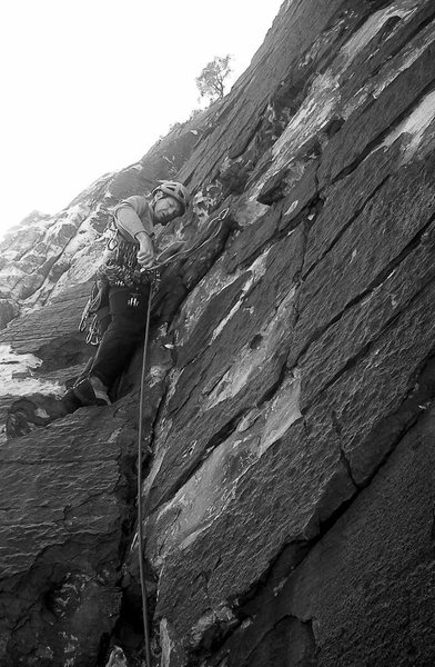 Rock Climbing Photo: Steve leading p2 Y2K