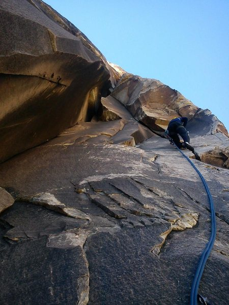 Good view of crux problem on p2 Gobbler. Crux is above leader.