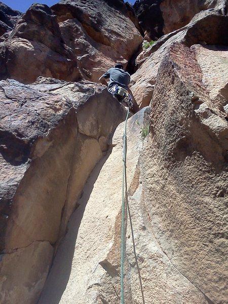 Rock Climbing Photo: jess just above the bolt.