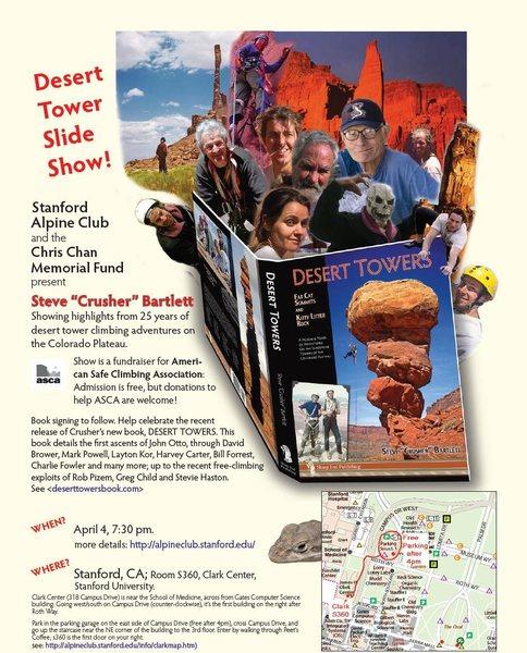 """Promo poster for Steve """"Crusher"""" Bartlett's slideshow at Stanford University April 4th"""