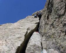 Rock Climbing Photo: The flake up close.