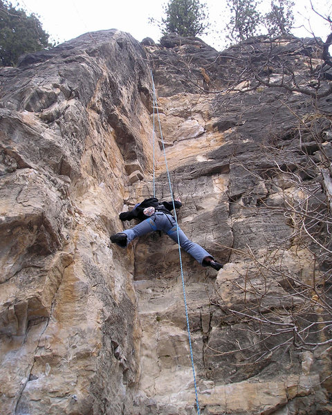 Rock Climbing Photo: This route is a little awkward. When all else fail...