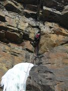 Rock Climbing Photo: Dave Rone entering the M7 minutes in his tense mee...