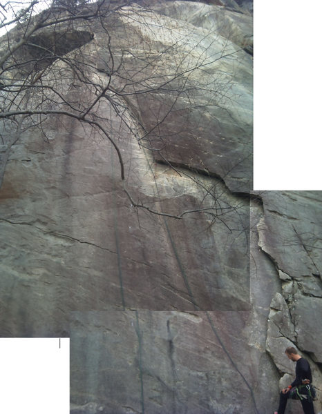 Aesthetic flake crack that trends left, best climbed with both feet and both hands in, cruxy just after ~90° feature.