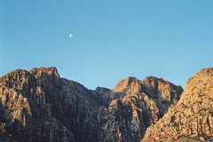 Rock Climbing Photo: Moon over Ice Box Canyon, Red Rock NV - '04