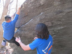"Rock Climbing Photo: Johnny on ""Alive Arete"" (V2), Mid Boneya..."