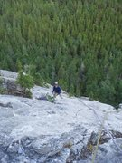Rock Climbing Photo: Looking back down P3 of Morningside.  Bow Valley, ...