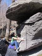 "Rock Climbing Photo: Sheila on ""Atrophy"" (V5), Mid Boneyard, ..."