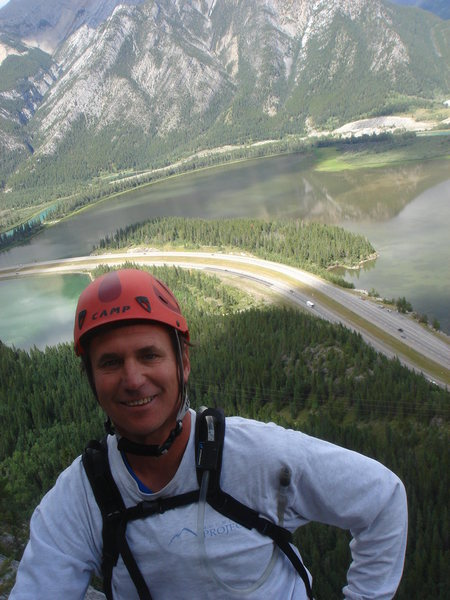 At the top anchor for Morningside, Lac des Arcs below.  Bow Valley, Alberta.