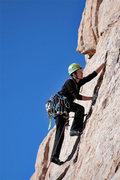 Rock Climbing Photo: Mary Moser leading the route before the bolts were...
