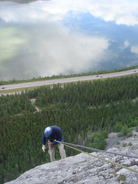Rock Climbing Photo: Jerry rapping Morningside. Bow Valley, Alberta.