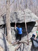 """Rock Climbing Photo: Tyler on """"Goodmornin'""""(V0), Mid Boneyard..."""