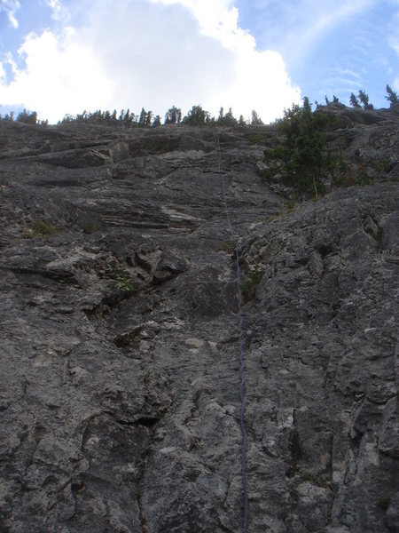 One last look up our line for the day. Morningside (5.7), Bow Valley, Alberta.