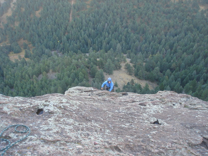 Nan leading P5, East Face Right, Seal Rock.