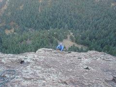 Rock Climbing Photo: Nan leading P5, East Face Right, Seal Rock.